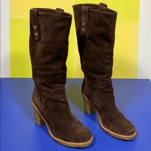 Ugg Brown Suede Tall Heeled Boots 8